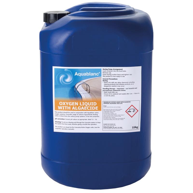 Aquablanc oxygen with algaecide for Pool won t show chlorine